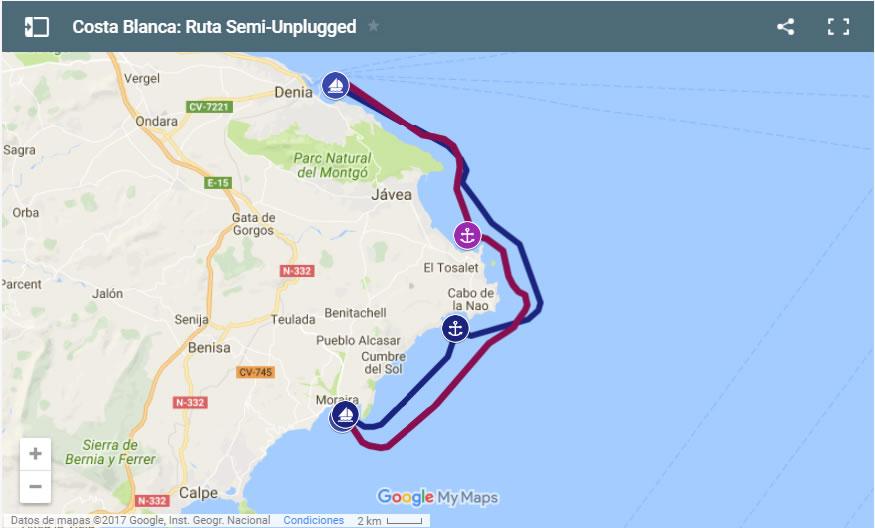 Mapa Costa Blanca Ruta Semi Unplugged